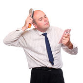 Narcissist - hairless businessman with mirror. — Stock Photo