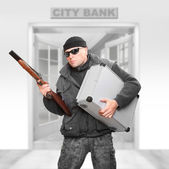 Dangerous gangster with stolen money fleeing from the bank. — Stock Photo