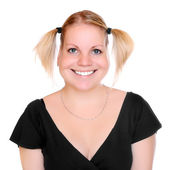 Smiling girl - caricature. — Stock Photo