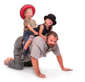 Father playing with his childs — Stock Photo