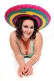 Happy woman with big mexican sombrero. — Stock Photo