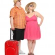 Funny obese couple going to holidays. — Stock Photo #32751751