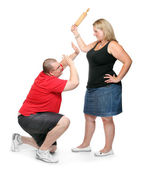 Fighting couple. Home violence and abuse concept. — Stock Photo