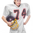 Woman in football protective suit. — Stock Photo