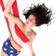 Young woman dressed in american flag with space for your text. — Stock Photo