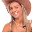 Country girl with cowboy hat — Stock Photo