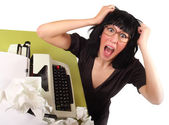 Frustrated modern business female shouting out her annoyance — Stock Photo