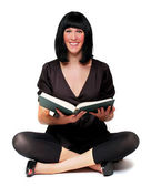 Portrait of a attractive girl with opened book. — Stock Photo