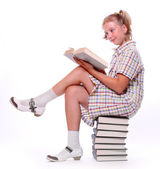 Happy girl with books. Back to school. — Stok fotoğraf