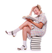 Happy girl with books. Back to school. — Stockfoto