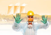 Worker in gas mask — Stock Photo