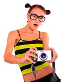 Young woman photographer with camera — Stock Photo