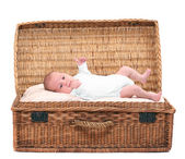 Box with cute baby. — Stock Photo
