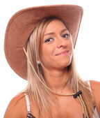 Country girl with cowboy hat — Photo