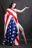 Girl dressed in american flag — Stock Photo