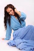 Beautiful young woman awakening in the morning. — Stock Photo