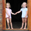 Funny kids in the doorway to an rural house. — Stock Photo