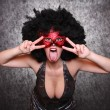 Stock Photo: Expressive portrait showgirl with red mask