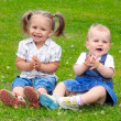 Two Happy children on green meadow. — Stock Photo