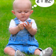 Stock Photo: Funny picture of little mathematician.