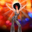 Stock Photo: Pretty showgirl dancing on carnival
