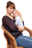 Genç anne ile bebeği. — Stok fotoğraf