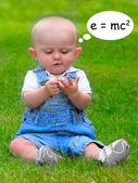 Funny picture of little mathematician. — Stock Photo