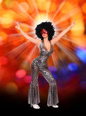 Pretty showgirl dancing on the carnival — Stock Photo