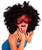 Expressive portrait showgirl with red mask — Stock Photo