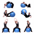 Shots of a sporty young woman in different position  — Stock Photo