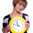 Beautiful blonde holding funny clock. Conceptual image. — Stock Photo