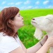 Woman with goat. — Stock Photo #33187635