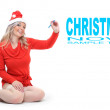 Glamour woman in Santa's costume and space for your text or image. — Stock Photo
