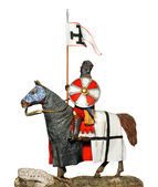 Crusader with sword on battle horse — Stock Photo