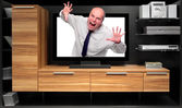 Assertive dealer attacking from tv — Stock Photo