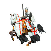 Medieval knight on battle horse — Stock Photo
