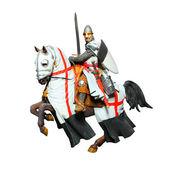 Středověký rytíř na koni, bitva — Stock fotografie