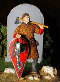 Model knight with Carpenter's axe — Stock Photo