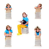 Koláž dívka s knihami — Stock fotografie