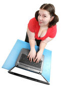 Frustrated woman with laptop — Stock Photo