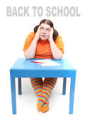 Back to school concept. Frustrated obese student. — Stock Photo