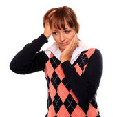 Frustrated student girl with headache on white background. — Stock Photo