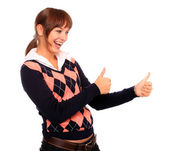 Succesful attractive student girl showing his thumb up. — Stock Photo