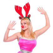 Girl dancing on christmas party — Stock Photo