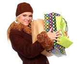 Shopping woman in winter clothing — Stock Photo
