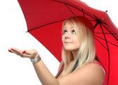 Girl holding umbrella — Stock Photo