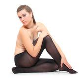 Woman in black nylons. — Fotografia Stock
