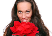 Portrait beautiful girl with flower. — Stock Photo