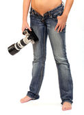 Girl with professional camera — Stock Photo