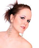 High key portrait of a beautiful brunette. Studio shot. — Stock Photo